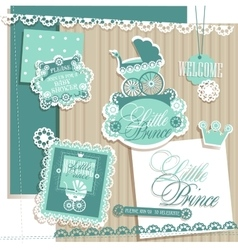 Scrapbook design elements baby boy set vector