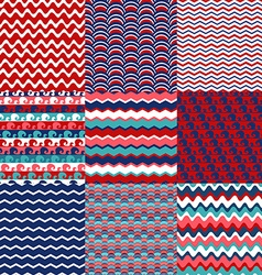 Set of blue red and white sea wave seamless vector