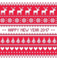 Happy New Year 2017 - Scandinavian red embroidery vector image