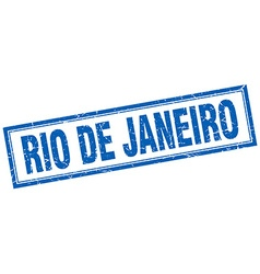 Rio de janeiro blue square grunge stamp on white vector