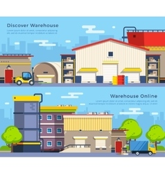 Warehouse flat banners vector