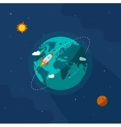Earth globe space  rocket ship flying vector image