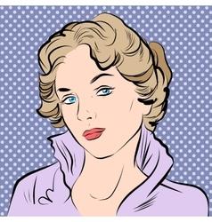 Beautiful girl portrait in retro style vector image vector image