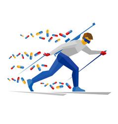 Biathlon player with doping pills vector