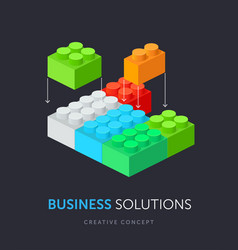 business solution flat isometric concept vector image vector image