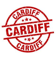 Cardiff red round grunge stamp vector