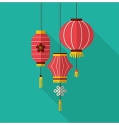 chinese new year clean flat design with lanterns vector image
