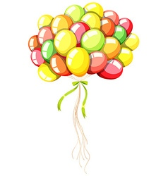 Coloful balloons with green ribbon vector