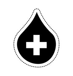 Drop with cross medical vector