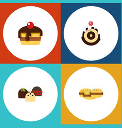 flat cake set of cake pastry biscuit and other vector image vector image