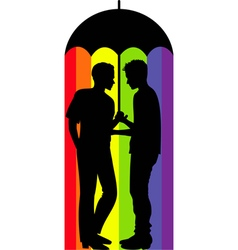 gay couple under an umbrella vector image vector image
