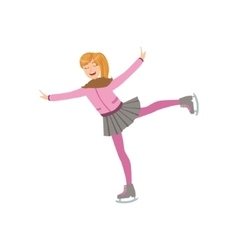 Girl In Pink Ice Skating Winter Sports vector image vector image