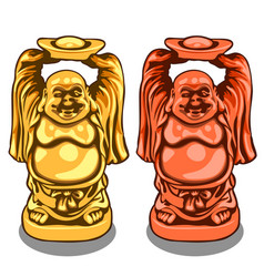 Gold and bronze figure of indian deity vector
