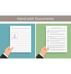 Hands with documents vector