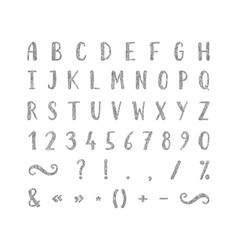 handwritten font with punctuation marks vector image vector image