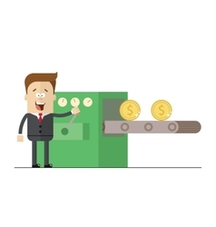 Happy businessman prints wads of money on the vector image vector image