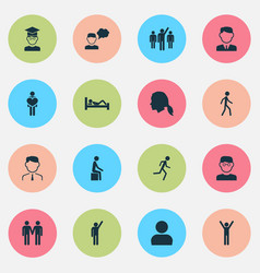 Human icons set with leader jogging student and vector