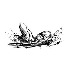 Ink sketch swimmer vector