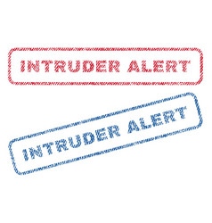 intruder alert textile stamps vector image