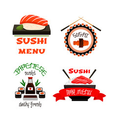 Japanese restaurant sushi menu icons set vector