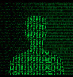 Men silhouette with binary code vector