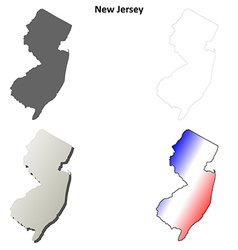 New Jersey outline map set vector image