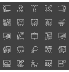 Presentation and conference icons vector