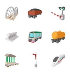 Railway icons set cartoon style vector