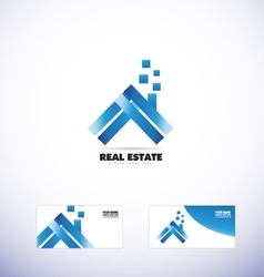Real estate house roof blue logo vector