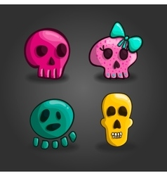 Set of cartoon skulls vector