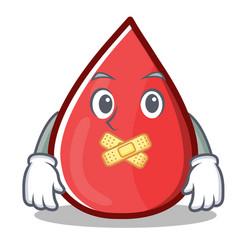Silent blood drop cartoon mascot character vector