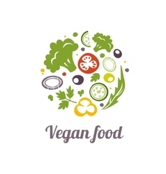Vegan food icon Logo design template vector image