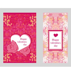 Vintage style valentine day card set vector