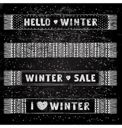 Winter special banner or label with knitted woolen vector