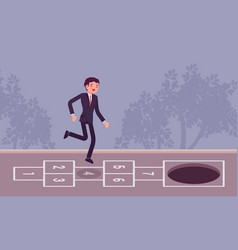 Young carefree businessman playing hopscotch pit vector