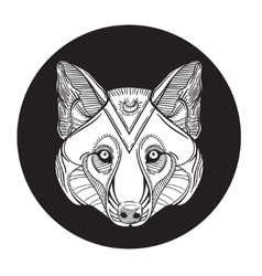 Animal wolf head print for adult anti stress vector