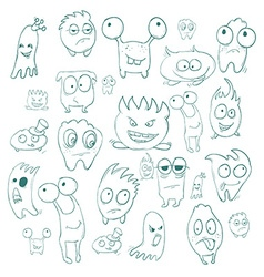 Contour funny monsters for halloween holiday or vector