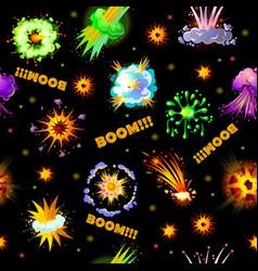 cartoon explosions seamless pattern vector image