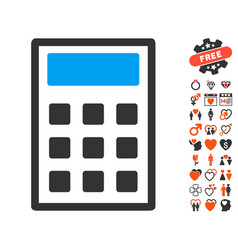 calculator icon with lovely bonus vector image