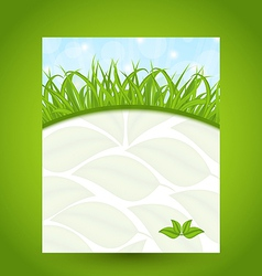 Ecology card with green grass and eco leaves vector