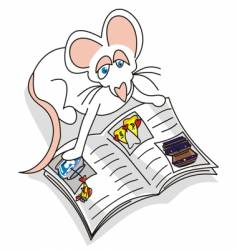 mouse reading vector image