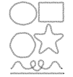 Set of hand drawn rope frames vector