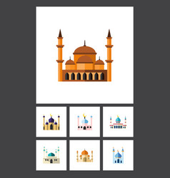 Flat icon mosque set of architecture structure vector