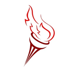 Torch with a burning flame vector