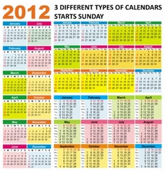 2012 calendars vector image