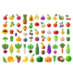Fresh food vegetables and fruits icons set vector