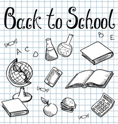 Back to school school subjects on the graph paper vector