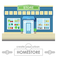 Store building flat design vector
