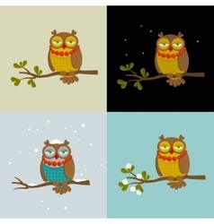 Set of with fashionable owls vector
