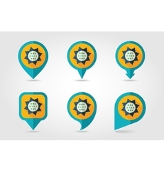 Sunflower mapping pins icons with long shadow vector